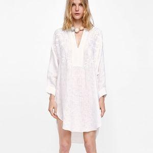 Zara Tunic Top Dress Jacquard Embroidered L
